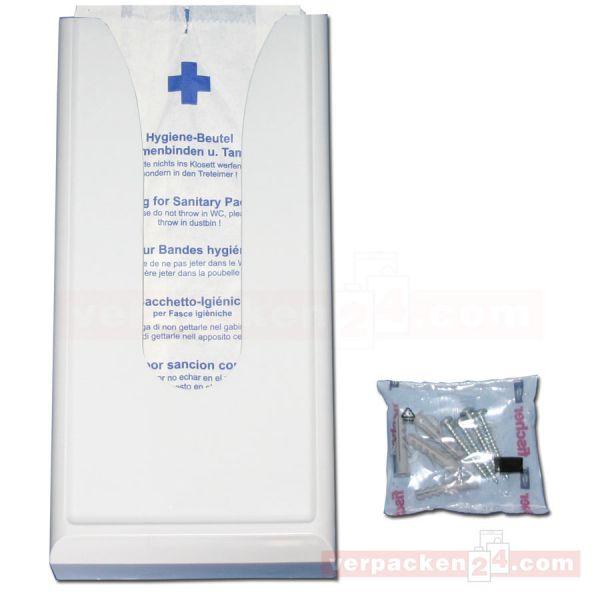 Hygienebeutelspender, weiß Kunststoff - für ca. 100 Beutel