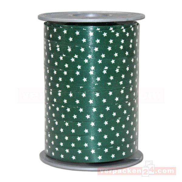 Glanzband Weihnachten - Sterne Rolle, 10 mm - dunkelgrün