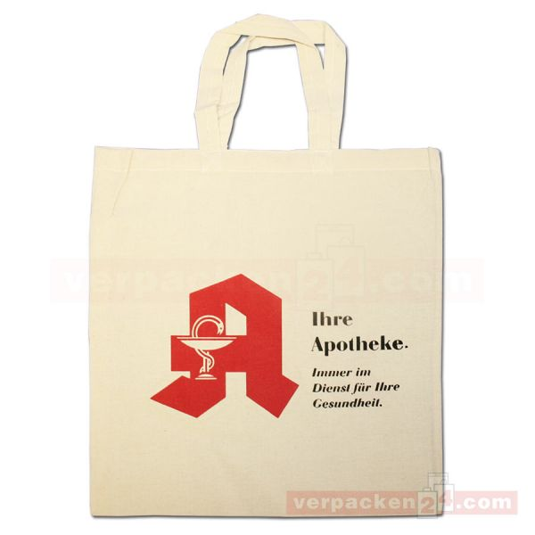 Baumwolltragetasche, natur, 2 kurze Henkel - 38x42 cm - Apotheke