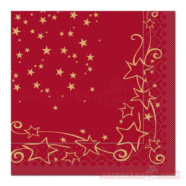 Servietten Tissue Xmas, 40x40 cm - 1/4 Falz, Glitter - bordeaux