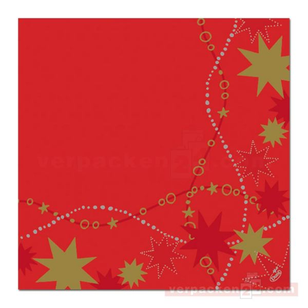 Zelltuch-Servietten DUNI, 40x40cm - 1/4 Falz, Dancing Stars Red