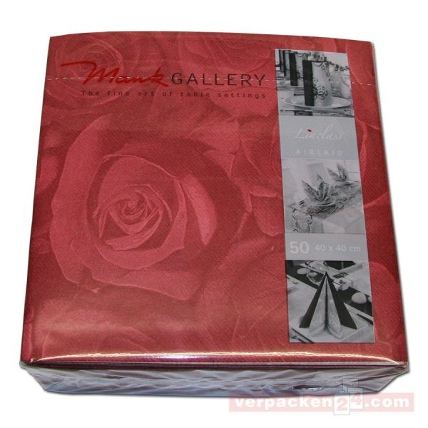 Servietten Airlaid farbig, 40x40 cm - 1/4 Falz, New Roses bordea