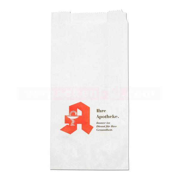 Arznei-Faltenbeutel, Kraftpapier weiß - Apothekenaufdruck