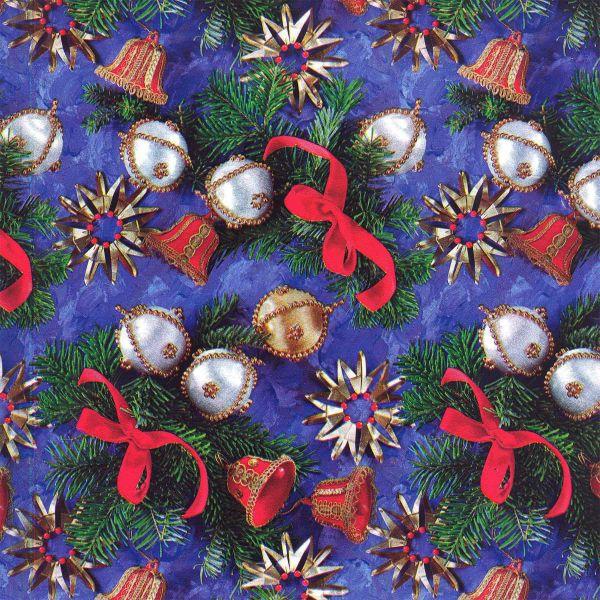 Weihnachts Geschenkpapier C033, Rolle 30cm, Tannen - Glocken
