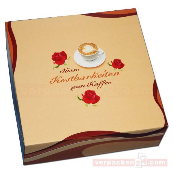 Tortenkarton, mit Deckel - Kaffeegenuss - 340x340x110mm