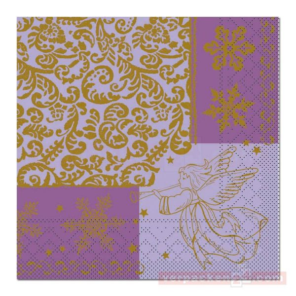 Servietten Tissue Xmas, 40x40 cm - 1/4 Falz, Arella - lila