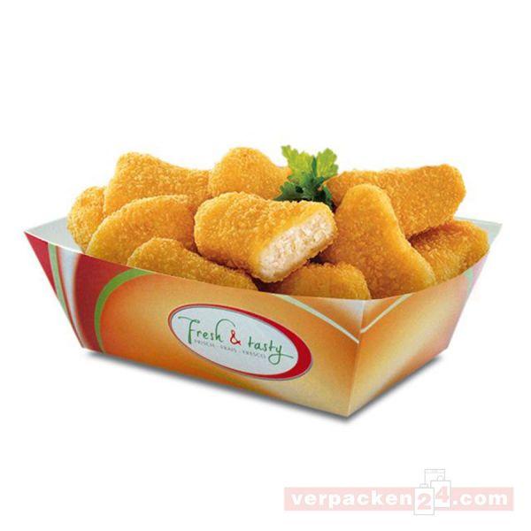Snackschale, weiß - Fresh & Tasty - aus Pappe - 100x63x42 mm