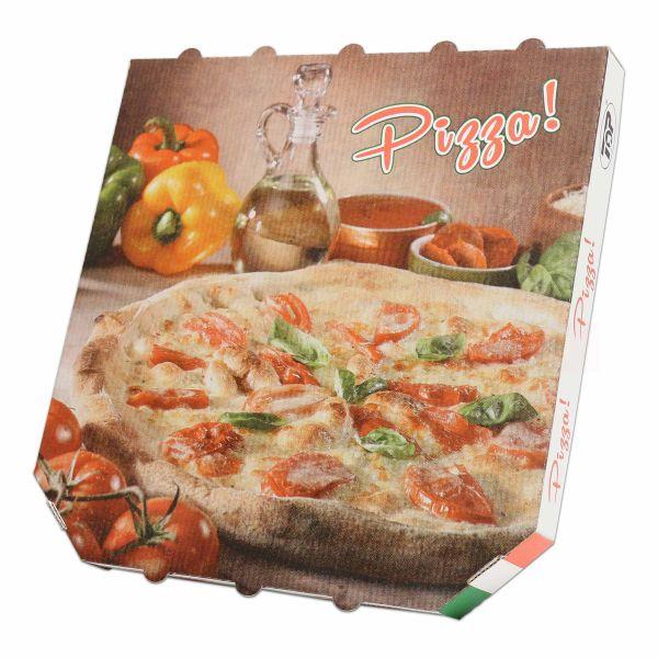 Pizzakarton, weiße Feinwelle neutral - 29x29+3cm - 6-eckig