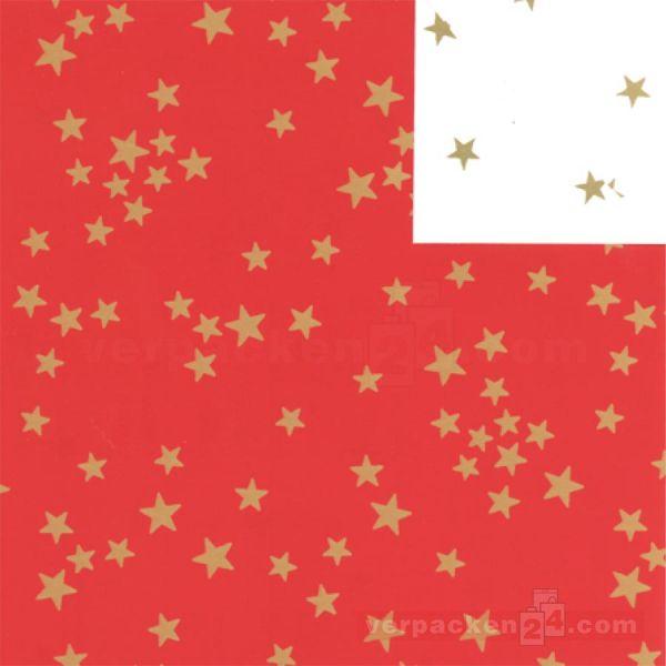 Weihnachts Geschenkpapier St 913179, Rolle 50 cm - Sterne rot