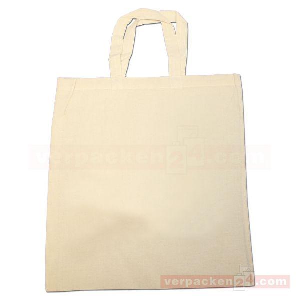 Baumwolltragetasche, natur, 2 kurze Henkel - 38x42 cm