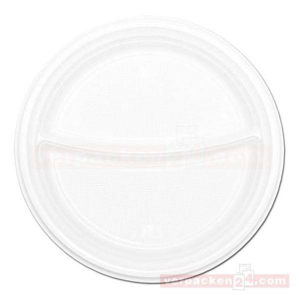 Einweg-Geschirr, Polypropylen, Menüteller, 2-geteilt, weiß