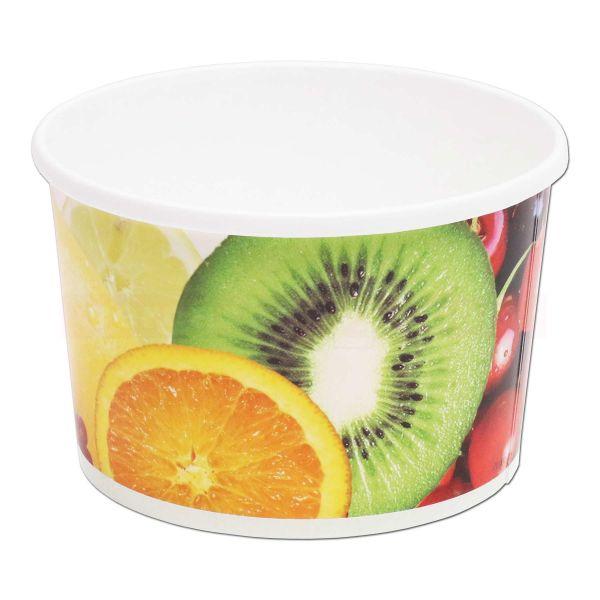 Eisbecher aus Hartpapier, Neutraldruck Obst und Früchte, rund - 1000 ccm