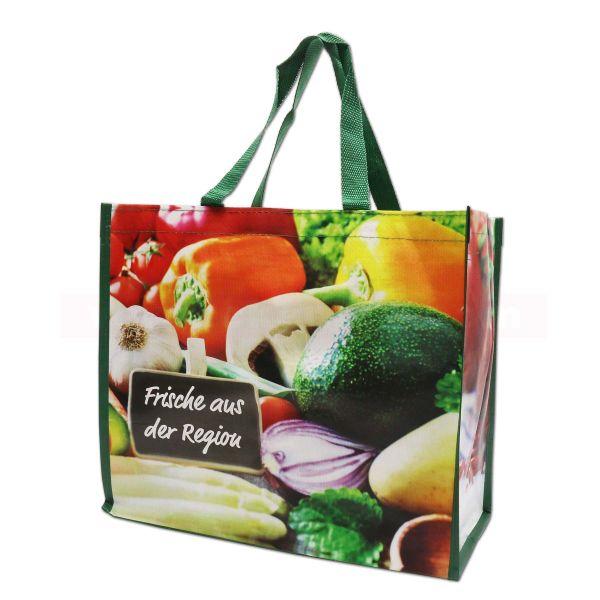 PP-Woven Tragetasche - Obst+Gemüse - kurze Henkel, 39+21x33cm