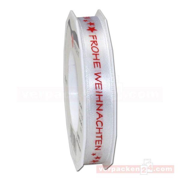 Schleifenband Weihnachten - Babel, Rolle 15 mm - weiß/ rot