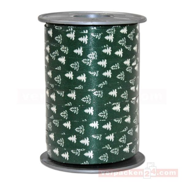 Glanzband Weihnachten - Tannenbaum Rolle, 10 mm - dunkelgrün