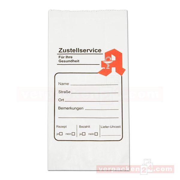 Arznei-Zustellbeutel - Faltenbeutel weiß 14+8x28cm - Apotheke