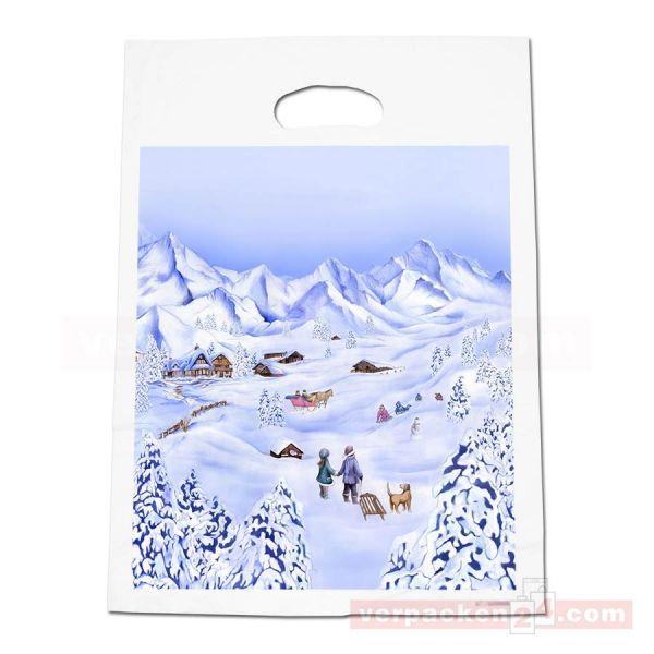 Weihnachts HDPE-Abreißtaschen, weiß - Winterlandschaft - 25x40cm