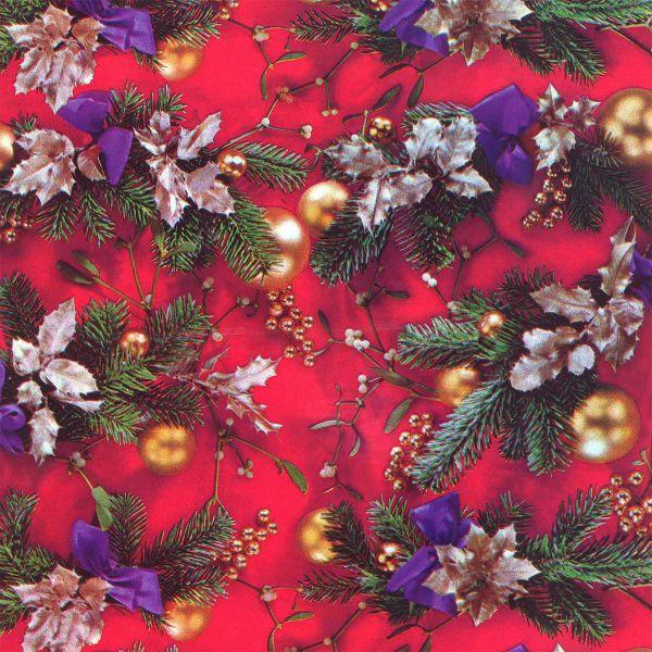 Weihnachts Geschenkpapier C036, Rolle 30cm, Tannen - Misteln