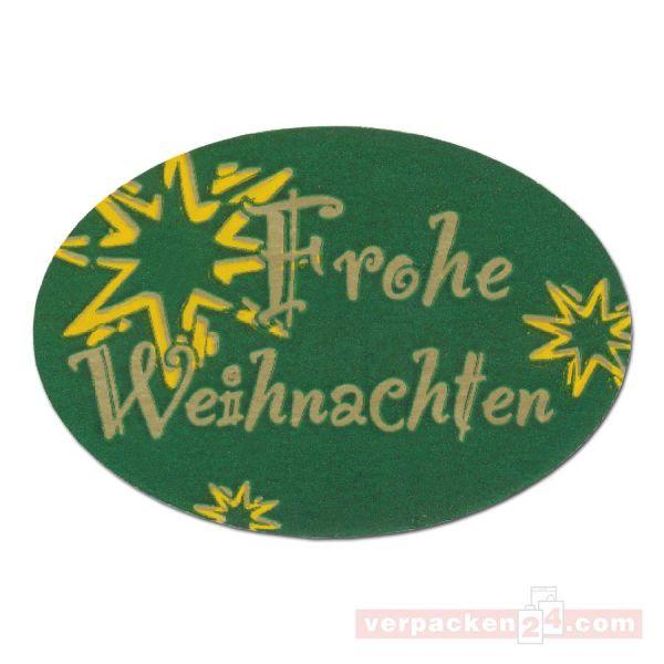 SKL-Etiketten, neutral - Frohe Weihnachten - grün - oval