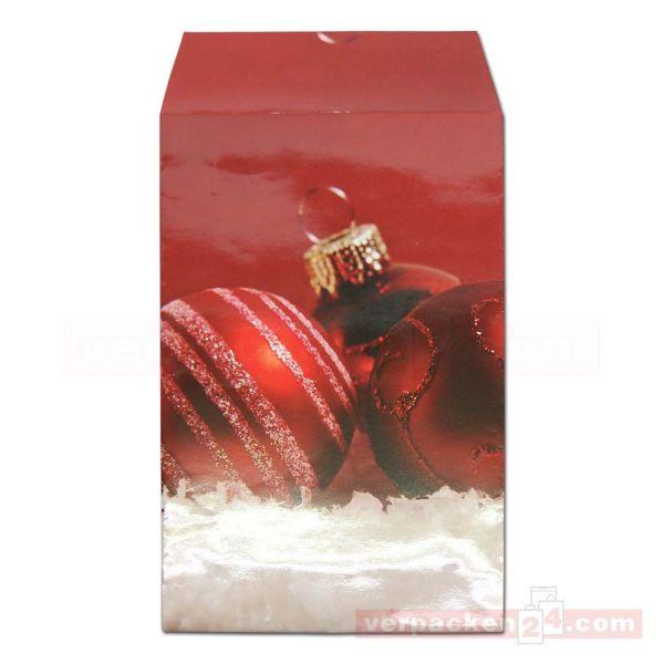 Weihnachts-Geschenktasche - Kugeln rot - 15+5x23+4cm