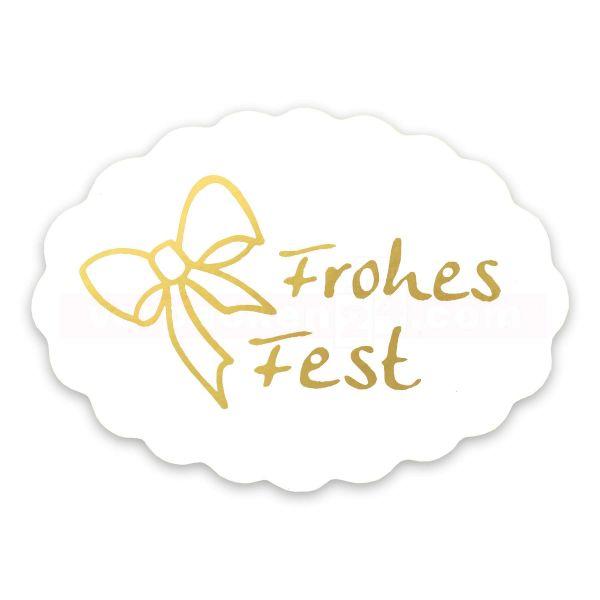 SKL-Etiketten Weihnachten - Frohes Fest gold - oval 42x30 mm