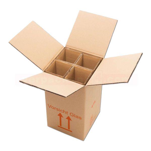 Flaschenversandkarton, 4 Flaschen - Versandverpackung PTZ