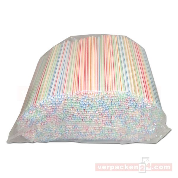 Milchshakehalme farbig, sortiert - 6,5x200mm