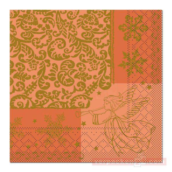Servietten Tissue Xmas, 40x40 cm - 1/4 Falz, Arella - aprikot