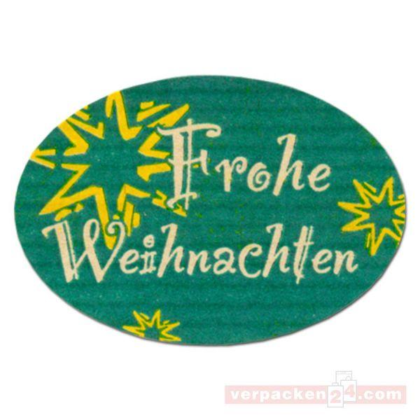 SKL-Etiketten, neutral - Frohe Weihnachten - grün gerippt - oval