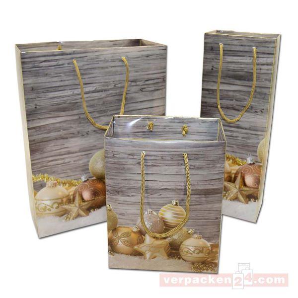 Weihnachts-Papiertragetasche - Exclusiv - Kugeln gold