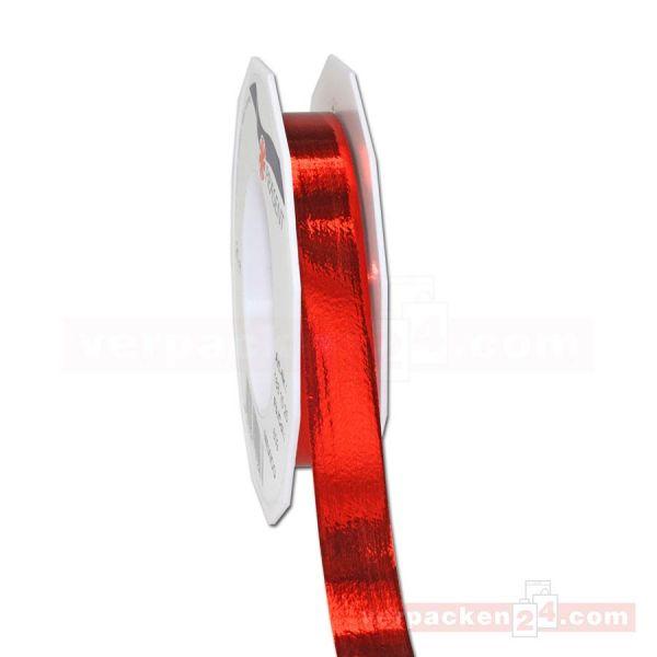 Glanzband metallisiert - 15 mm - Rolle 25 m - rot (609)