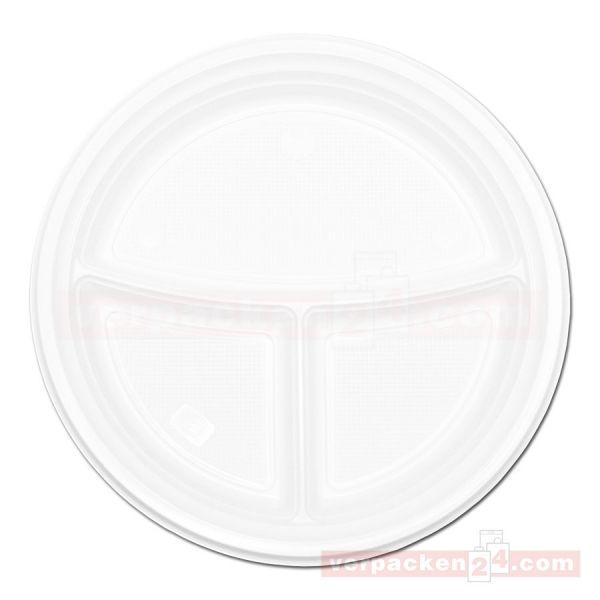Einweg-Geschirr, Polypropylen, Menüteller, 3-geteilt, weiß