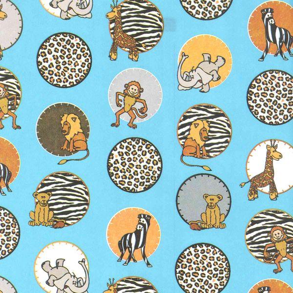 Geschenkpapier Kinder, neutral K 473, Rolle 50 cm, Afrika hellblau