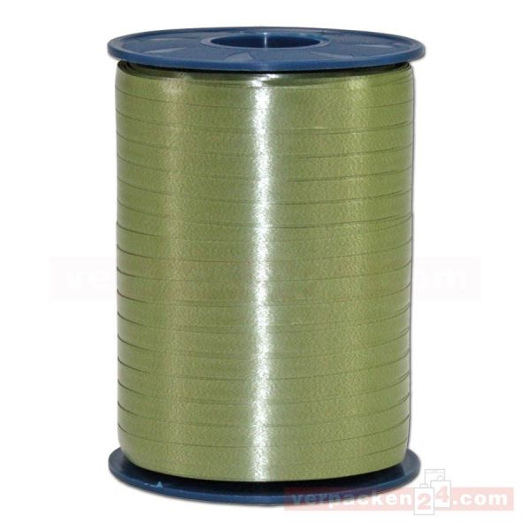 Glanzband auf Rolle 500 mtr., 5 mm - olivgrün (621)