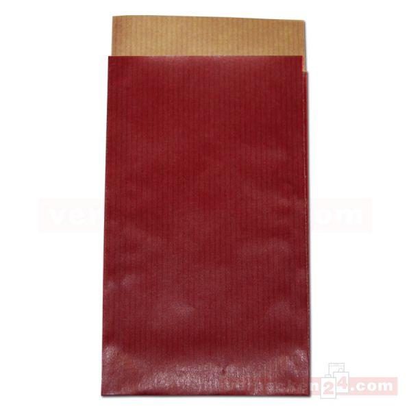 Flachbeutel (2N), Vollfläche uni bordeaux + rot