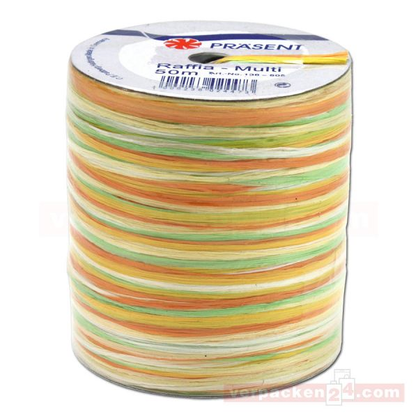 Bastband auf Spule - Raffia Multicolour 50 m - gelb orange(605)