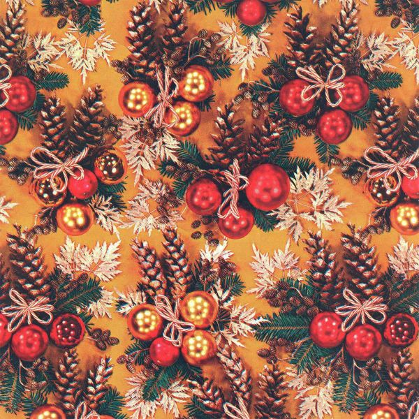 Weihnachts Geschenkpapier C037, Rolle 30cm, Kugeln - Zapfen