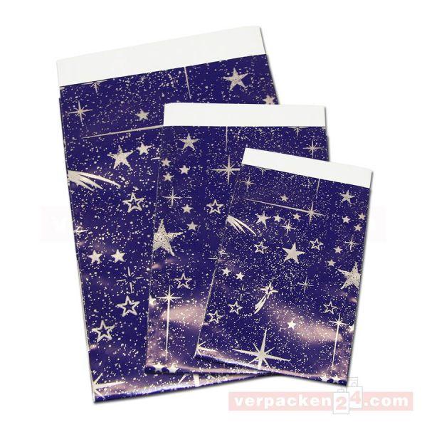 Geschenkflachbeutel Weihnachten, Sterne blau