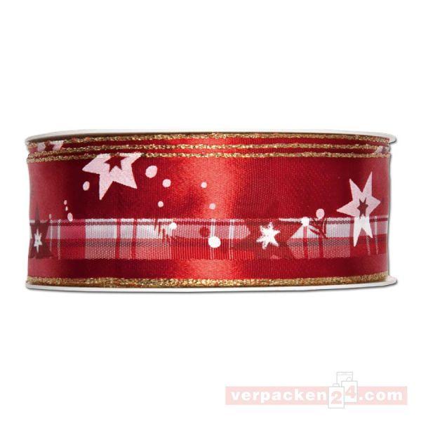 Drahtkantenband - Sterne + Zweige, Rolle 35 mm - rot/gold