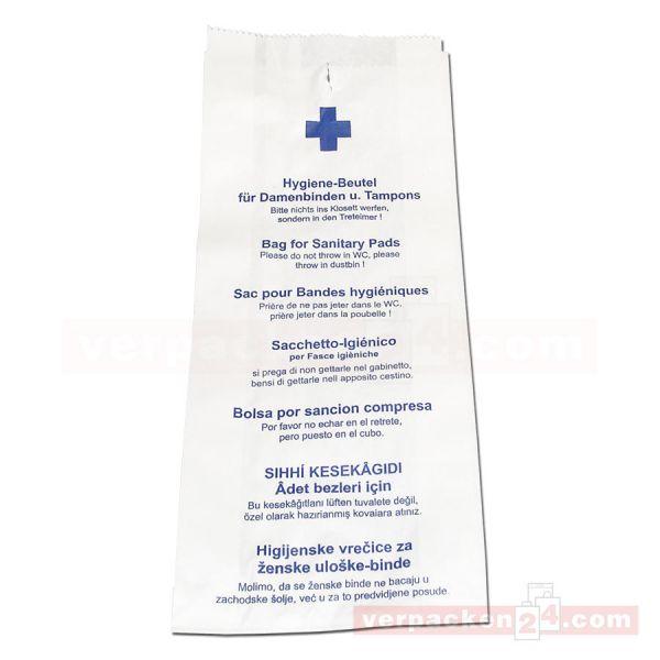 Hygienebeutel, weiß - Neutraldruck 12+4,5x28cm - mehrsprachig