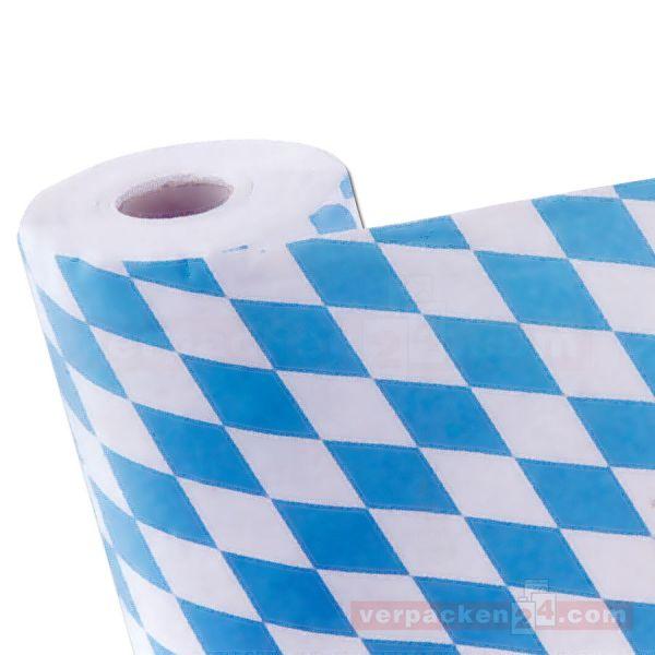 Tischtuchpapier, blau + weiß Rauten Damast, auf Rolle