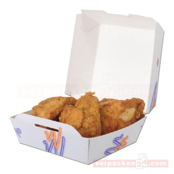 Hamburgerbox weiß - Snack blau/rot - mit Deckel - groß