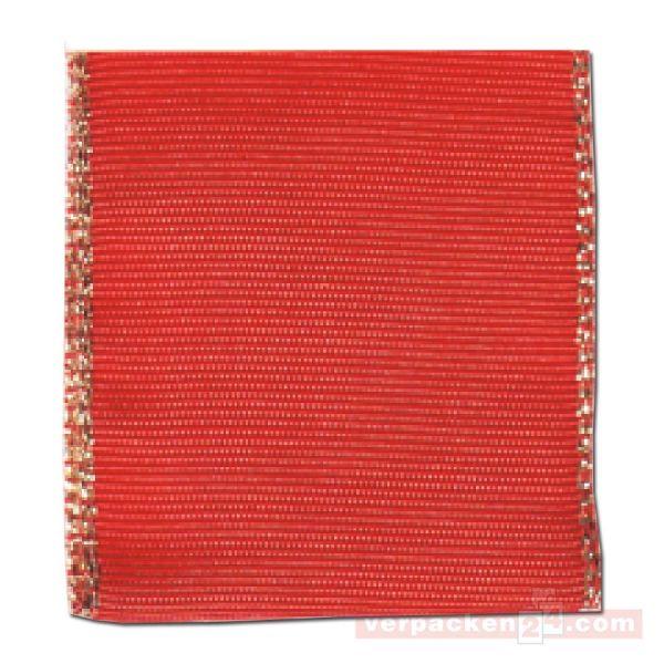 Schleifenband Manhatten Weihnachten 40 mm - rot - Drahtkante