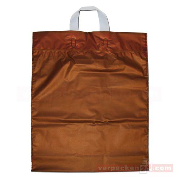 HDPE-Schlaufentasche, milchig transparent kastanie