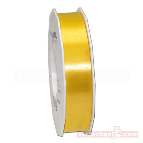 Glanzband - Lucky - lackiert Rolle 50m, 25 mm - goldgelb (605)