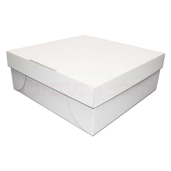 Tortenkarton, mit Deckel, weiß - 2-teilig - 320x320x120mm