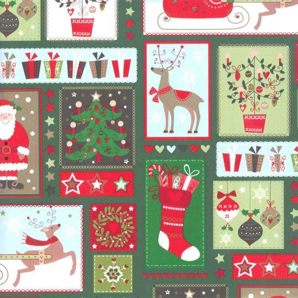 Weihnachts Geschenkpapier St 913247, Kurzrolle 50 cm - Nikolaus grün