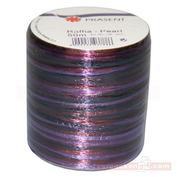 Bastband auf Spule - Raffia PEARL Multicolour 50 m - violett