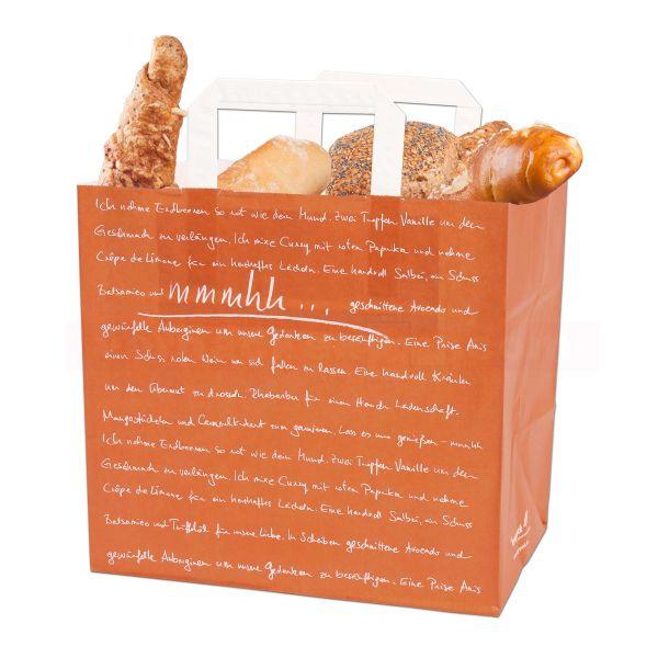 Papiertragetasche, Konditor mmmhh, 26+17x25cm - orange