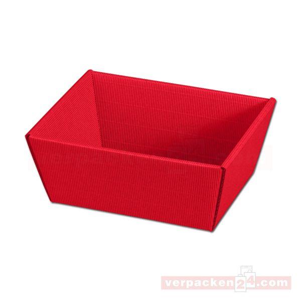 Präsentkorb Modern - 4-eckig, offene Welle - rot